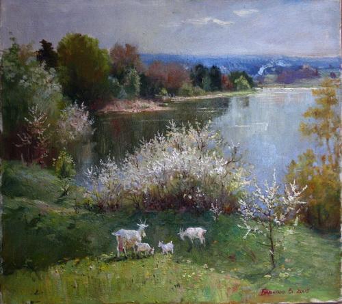 """Бараненко В. """"Май. Козы"""", 2005, холст, масло"""